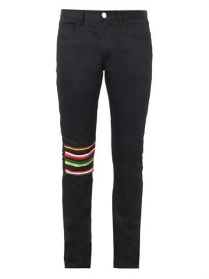 Striped knee-patch skinny jeans