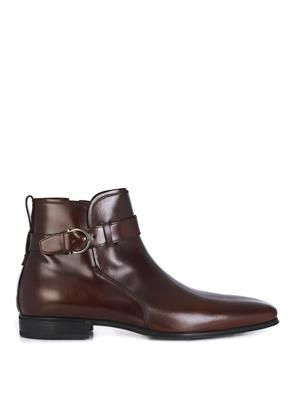 Leather jodhpur belted boots