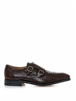 Duran python double monk-strap shoes