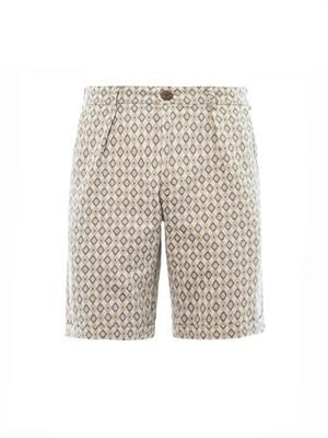 Diamond jacquard pleat-front shorts