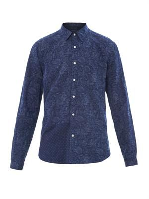 Combo-print patch shirt