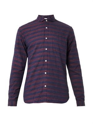 Eton-collar stripe-weave shirt