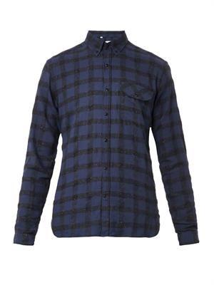 Button-down-collar checked shirt
