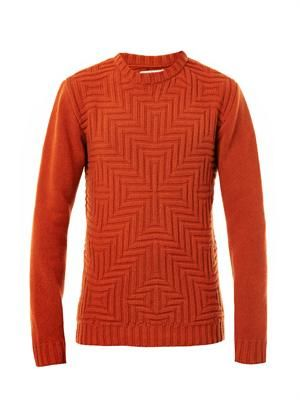 David geometric-weave sweater