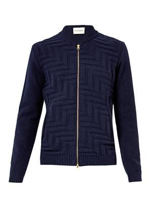 Zigzag-knit zip-front sweater