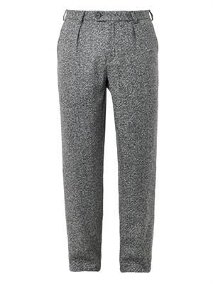 Pleat-front tweed trousers