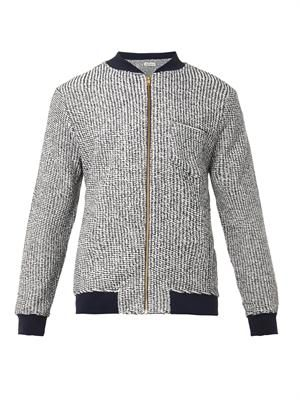 Reverse-jersey bomber jacket