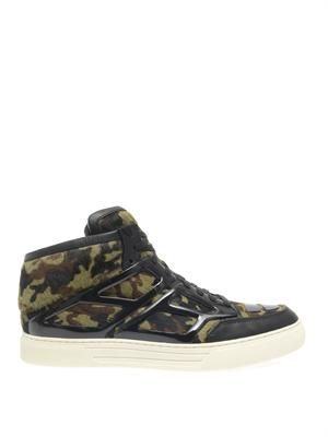 Tron camouflage calf-hair trainers