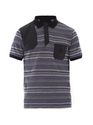 Multi-weave polo shirt