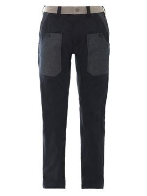 Multi-pocket flat-front trousers