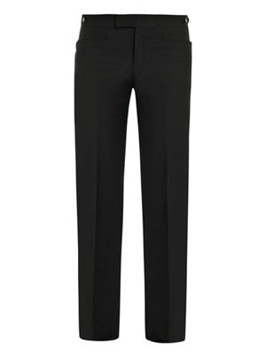 Lap seam cross-pocket trousers