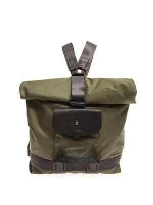 London rolled-top nylon backpack