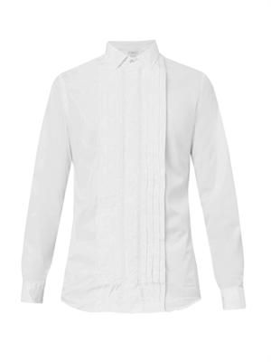 Pleat-front cotton dinner shirt