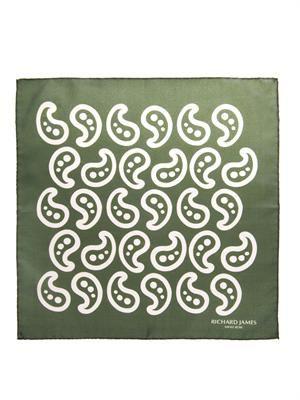 Paisley-print silk pocket square