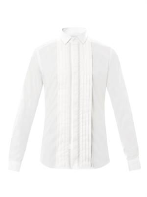 Pleated-front cotton shirt