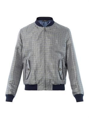 Plaid silk jacquard bomber