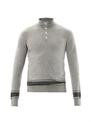 Quarter-button fine-knit sweater