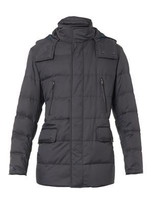Checked quilted-down jacket