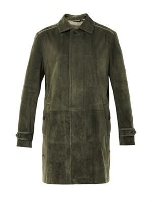 Point-collar suede coat