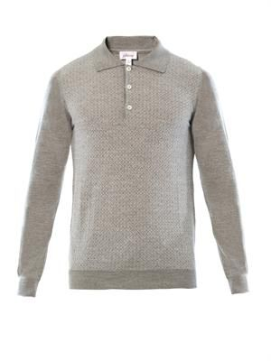 Wool and silk-blend polo top