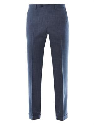 Montana fit micro-check wool trousers