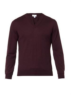 V-neck fine-knit sweater