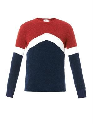 Colour-block crew-neck sweater