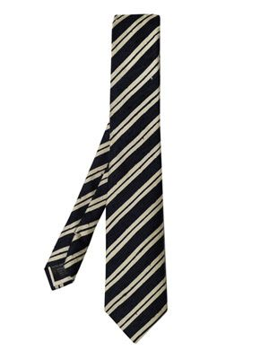 Raw silk diagonal stripe tie