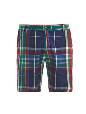 Madras check-print shorts