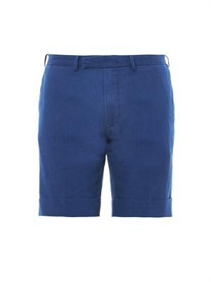 Linen and cotton-blend tailored shorts