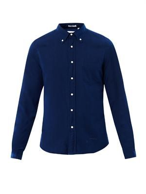 Button-down collar cotton shirt