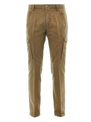 Linen and cotton-blend cargo trousers