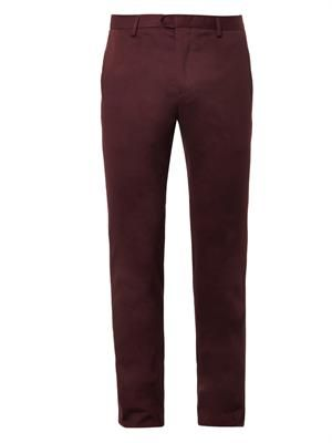 Slim-leg cotton trousers