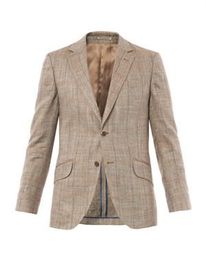 Herringbone notch-lapel blazer