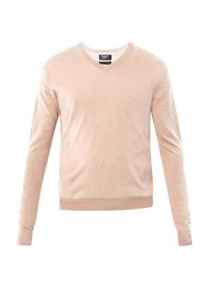 V-neck silk-blend sweater