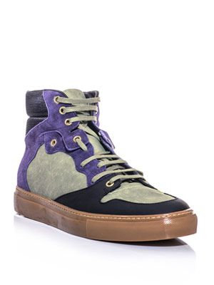 Canvas and leather high-top trainers
