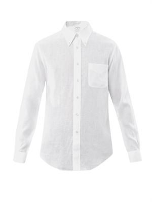 Button down-collar linen shirt