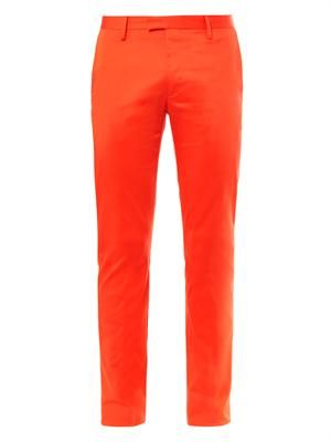 Max cotton-satin slim-leg trousers
