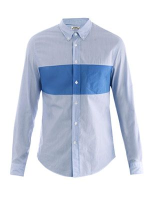 Isherwood stripe panel shirt