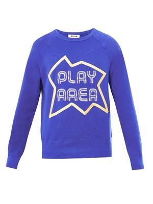 College appliqué-slogan sweatshirt