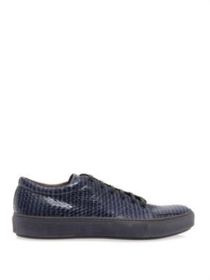 Adrian striped snakeskin trainers