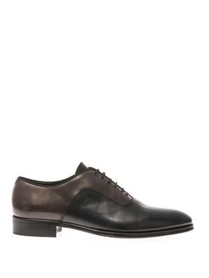 Bi-colour leather derby shoes