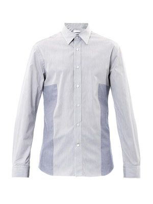 Stripe colour-block panel shirt