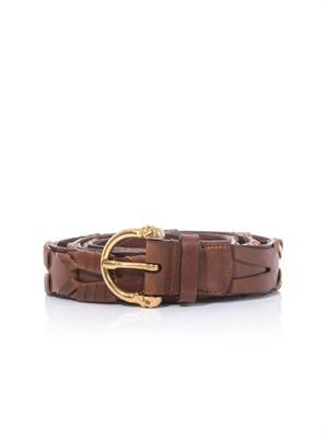 Skull-buckle braided leather belt