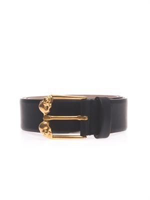 Skull buckle bi-colour leather belt