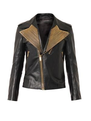 Zip-embellished leather biker jacket