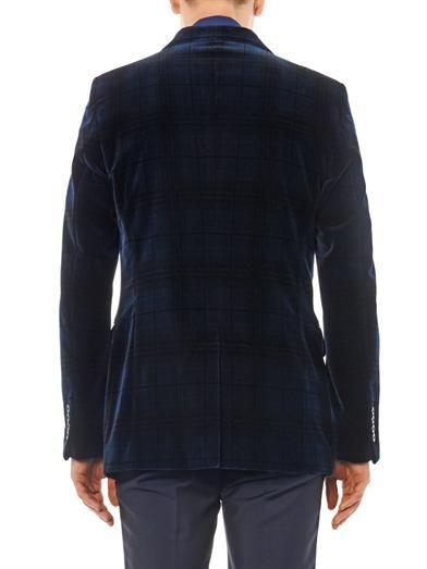 Alexander McQueen Check-print velvet blazer