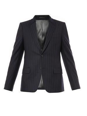 Contrast-collar pinstripe wool blazer