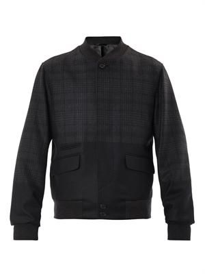 Ombré checked wool bomber jacket
