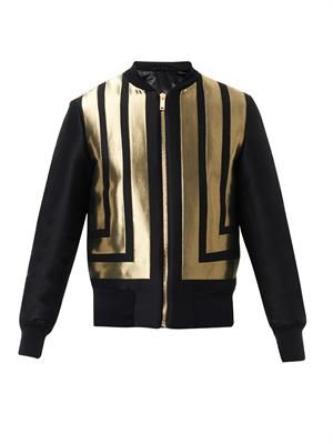 Stripe-jacquard bomber jacket